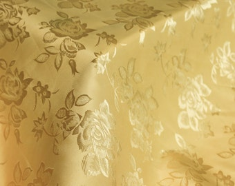 Gold  Floral Jacquard Brocade Satin Fabric By the Yard Style 3006