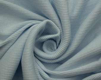Light Blue 54'' Medium-Weight 1x1 Cotton Rib Knit Fabric By the Yard Style 3127