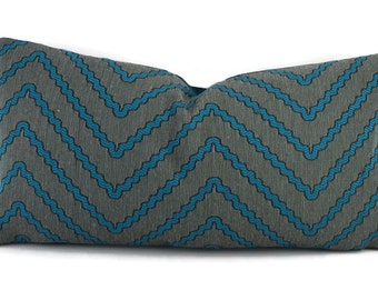 SALE! Teal Blue & Brown Woven Chevron Lumbar Throw Pillow Cover, 10x20, Throw Pillow Cover, Turquoise and Brown Chevron Lumbar Pillow Cover