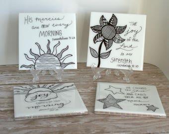 Drink Coasters, Ceramic Coasters, Tile Coasters, Table Coasters, Hand drawn Coasters, Set of 4