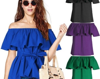Raffle off shoulder top / blouse . Free size - made to order . Belt included
