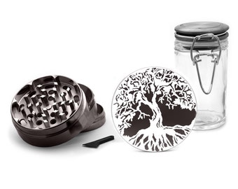 Tree of Life Grinder, 4 Piece Herb Grinder White UV Print, FREE glass Herb jars included!Gun metall Zinc Grinder 0074