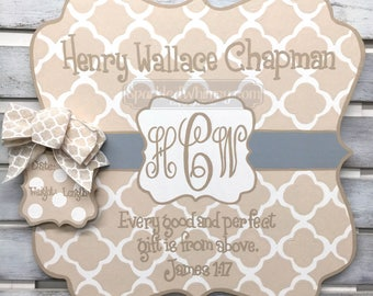 Birth Announcement - Door Hanger - Personalized Baby Announcement Sign For Hospital Door Nursery Decoration Baby Shower (Cream, Fawn, Grey)