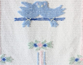 "Vintage Chenille Baby Bedspread Infant Toddler Blue Love Birds 40""x 64"" VG-Excellent Vintage Condition"