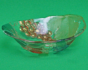 Vintage Small Art Glass Bowl. Strawberries, Cherries And Grapes