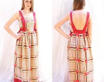 ON SALE vintage maxi dress, hippie, 1960s,boho, dress,  apron, cotton print, hostess dress, size medium by Tiffany Loungewear