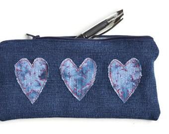 Valentine Denim Pencil Case, Zip Heart Pouch