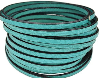Floral Embossed Leather - Turquoise - High Quality Leather Cord - 2ft/24""