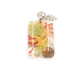 Leaf Necklace Leaves in Resin Pendant for Mabon