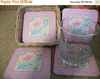 Cork Backed Coasters  Set of Four in Wicker Basket Vintage Floral Kitchen Dining Home Bar Beverage Serving Entertaining Tableware