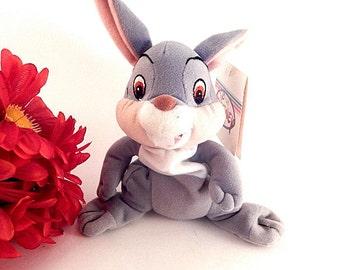 "Rabbit Stuffed Animal Grey and White Mini Bean Bag Toy Walt Disney Movie Bambi Thumper 6"" Collectible Disneyana"