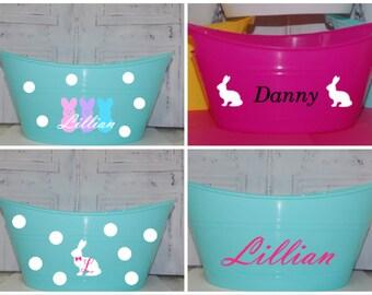 DIY Easter basket buckets vinyl decals do it yourself peeps bunny bunnies personalized