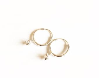 Tiny Silver Star Hoops //Silver earrings //Charm Hoop earrings //Silver Jewellery //Gift ideas //Bridesmaid gifts //Hoop earrings
