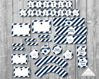 Prince Birthday, Little Prince Party, Printable Birthday Party, navy blue and silver party, PDF file, little boy birthday, printable party