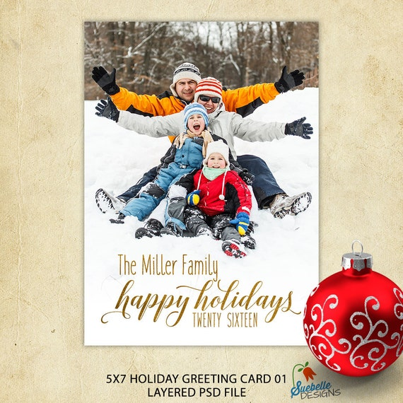 Photo Christmas Card Photoshop Template • Happy Holiday or Merry Christmas Greeting Custom Script Word Art • Photo Holiday Card Printable