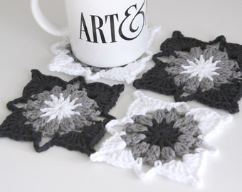 Black White and Grey Crochet Coasters Set of 4 for the Home