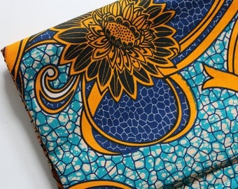 AFRICAN WAX PRINT Fabric / Kitenge Ankara Fabric /  African Apparel Fabric / Sold By The Half Yard / 100% cotton