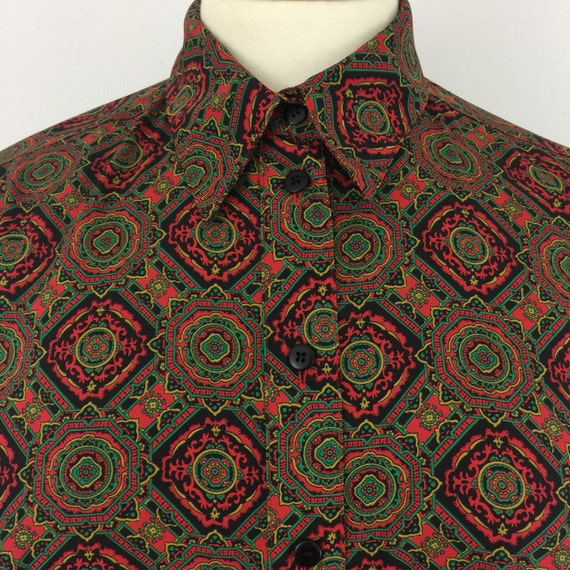 Vintage shirt paisley blouse 1980s jazzy print shirt fitted UK 14 Mom style glam 80s top over sized Mod Nu Wave