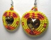 SUNSHINE HEARTS beaded earrings, gem inlay, bead embroidery, raised beadwork, handmade