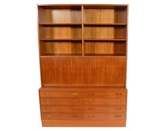 Teak Wall Unit Desk Bookcase Drawers Hundevad Danish Modern