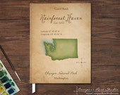 Vacation Home Guest Book, Personalized Watercolor Map Guest Book, Rustic Cabin Guest Book, Housewarming, Any State, Island or Country