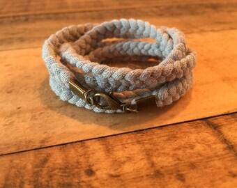 Braided Wrap Bracelet - Light Grey