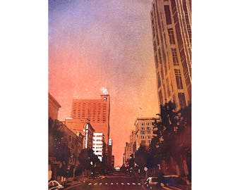 Downtown Raleigh, NC skyscrapers and Progress Energy Center at sunrise -North Carolina.  Watercolor painting Raleigh skyline art NC