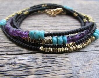 Amethyst Bracelet, February Birthstone Bracelet, Beaded Wrap Bracelet, Turquoise Wrap Bracelet, Boho Bead Bracelet, Boho Stack Bracelet