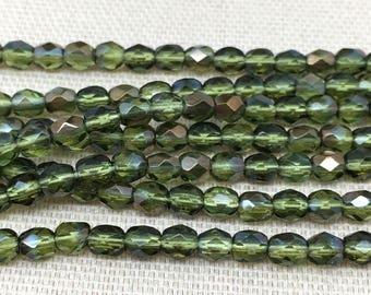 50 Translucent Green Czech Glass Beads Faceted 4mm