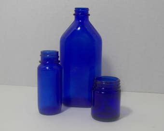 Cobalt Blue bottles 3 different, one Phillips one Vicks one Bromo seltzer  Apothecary  old pharmacy bottle  upcycle
