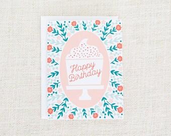 Birthday Card, Happy Birthday Card, Cupcake Card, Birthday Card for Her, Flower Birthday Card, Floral, Her Birthday, Girl Birthday