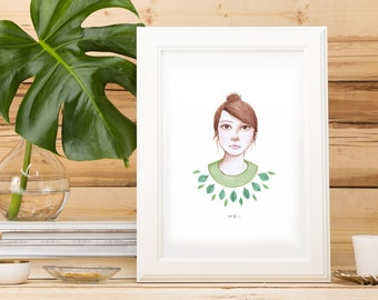 Girl in Green Print