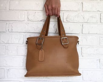 Vintage Camel Leather Coach Handbag