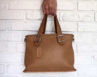 Vintage Camel Leather Coach Handbag