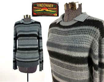 Vintage 70s - 80s SUNDOWNER Acrylic Pullover Sweater LARGE // Soft // Horizontal Stripes // Gray // Pull-Over // Cozy // 1970s // 1980s // L