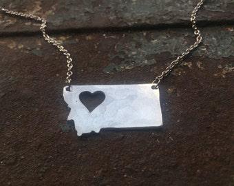 NW Montana state heart cutout necklace (medium)