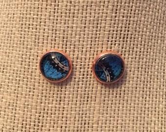 10mm Azure Blue Mandala Stud Earrings