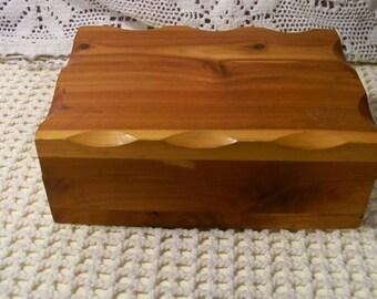 Vintage Cedar Box, Hinged Lid