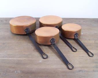 Vintage 4pc set lot French copper cookware saute pots pans unlined