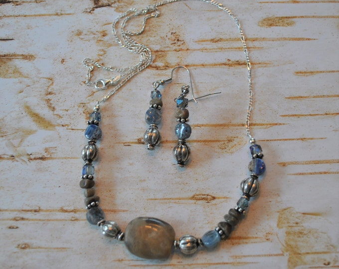 Petoskey Stone focal necklace set, Petoskey stone nuggets, Kyanite, Michigan necklace, Up North necklace