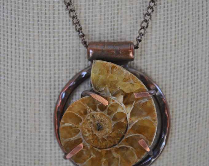 Fossil ammonite stone and copper pendant necklace, rustic, metal necklace