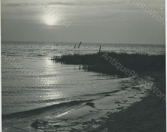 Sunset at the beach vintage art photo