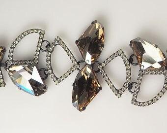 Amazing designer Rebekah Price sparkly chunky glass and rhinestone bracelet