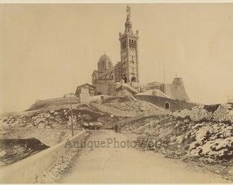 Notre Dame cathedral Marseilles France antique photo