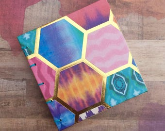 Hexagonal Design Sketchbook/Journal, Open Spine/Exposed Spine, Blank Pages, No Lines, 3 x 3.25 inches, 48 Pages