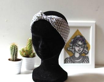 headband fabric grey and gold