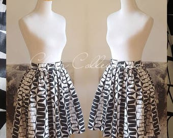 Black, White high waist skirt, African Skirt, Ankara Skirt, African Print, African clothing, African dress, Ankara Dress, Black and White