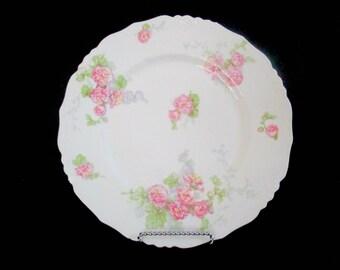 Antique Limoges Dinner Plates, Jean Pouyat, JPL Limoges, Pink Carnations, Pink Floral Limoges, 9 Avail