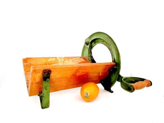 Raadvad Bread Slicer, Danish Design Model 294, Hand Operated, Original Sage Green Paint, RaadVad Bread Cutter, Rustic Kitchen