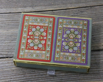 Vintage 2-deck box set of cards, vintage Bridge  with ornate floral design in red and purple, Congress Playing Cards